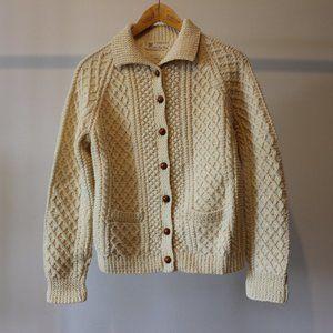 Vintage Carbery Handmade Beige Wool Cardigan